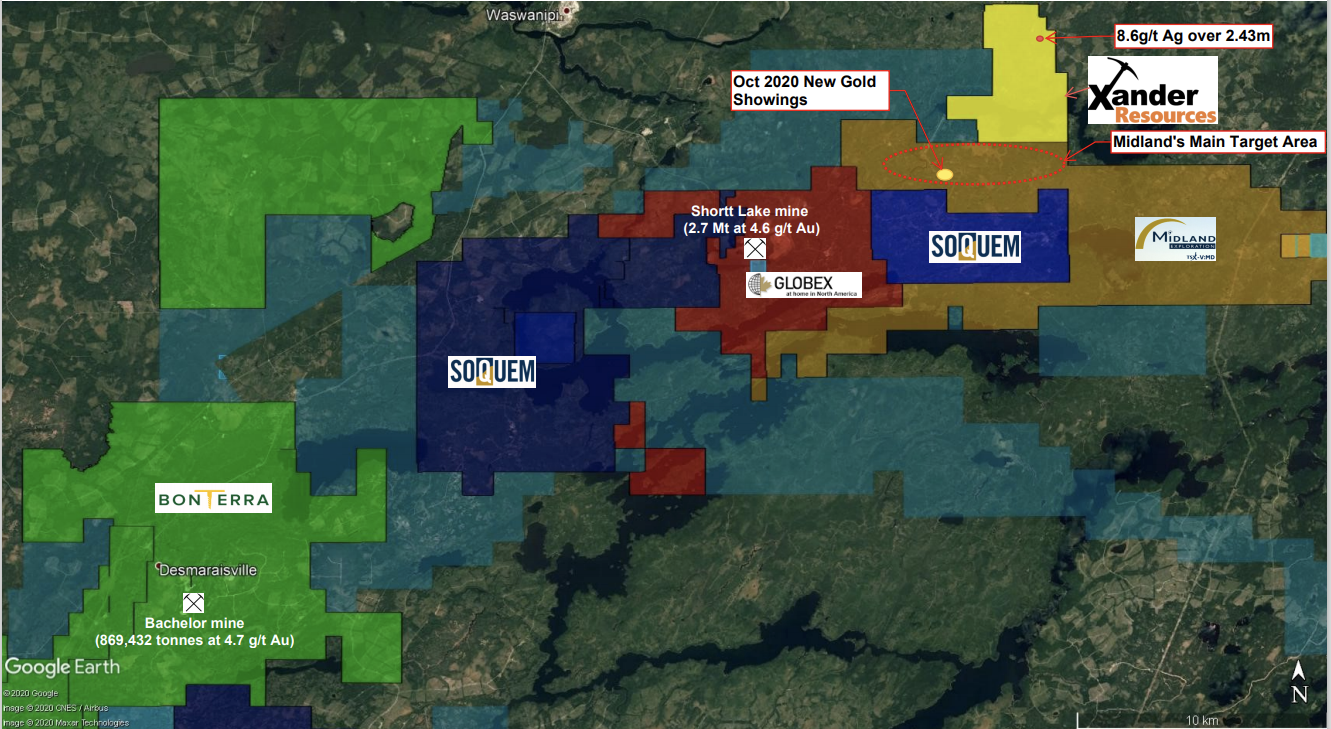 Map of Xander Resources